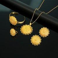 Orecchini Collana African African Etiope Trendy Gold Colore Gioielli Habesha Eritrea Donne Set