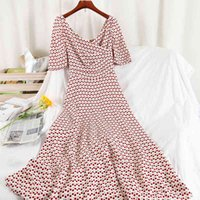 Elegant long dress printed polka dot high waist party Vintage dress summer female chiffon dress vestidos clothing women 210515
