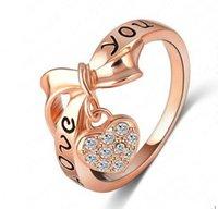 Lzeshine Brand Negro Enamel Love You Ring Heart Bow 18k Rose Gold Plate Austrian Crystal Elemento Anillos Anillo de palabras RI-HQ1055-A 10 J2