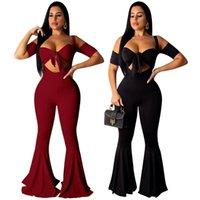 Летние два куска набор сексуальный бюстгальтер обрезанный топ + подвеска высокая талия Flare брюки ночной клуб вечеринка женщин наряды брюки женские трексуиты