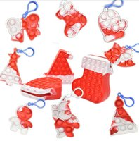 Red Christmas Kids Gifts Anti Anxiety Fidget Toys Simple Key Ring Keychain Xmas Tree Santa Stocking Hat Bell Tie Dye Finger Bubble GWF10430