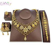 Earrings & Necklace Liffly Nigeria Elegant Bridal Flower Bracelet Ring Crystal Jewelry Party Fashion Sets