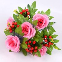 42 cm Hermosa rosa Pista de flores de seda artificial con ramas rojas Flores falsas Flowers Home Party Decoración de la boda Decorative Guirnaldas