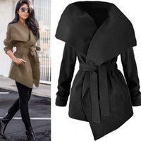 Women's Trench Coats Nice Autumn Fashion Women Lapel Belt Long Coat Elegant Lace Up Windbreaker Cardigan Outerwear