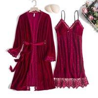 Women's Sleepwear Women Velour Nighty&Robe Set Lace Patchwork 2PCS Sexy V-neck Kimono Gown Female Sleep Casual Velvet Loungewear