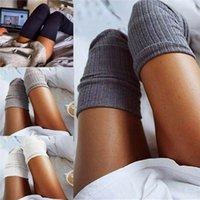 Stati Uniti Fotografia Stock Calze da donna Hosiery Inverno calze calde a maglia all'uncinetto sopra il ginocchio cotone morbido spessore della coscia tinta unita