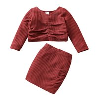 Kids Clothing Sets Girls Outfits Baby Clothes Children Wear Autumn Winter Plaid Sweater Skirt Girl Suit 2Pcs B8273