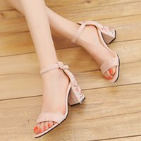 Korean Summer New Suede One Button Shoes Comfortable Medium High Thinew Heel Sandals Women's Embroidery MTNT