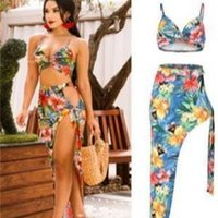Women Designer Swimsuit Beach Floral Dresses Female Holiday Bras Split Up Dress 2pcs Club Clothing Sets