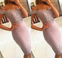 2021 Cheap Sheath Cocktail Dress Dusty Rose Pink Knee Length Bodycon Formal Club Wear Evening Prom Party Gown Plus Size