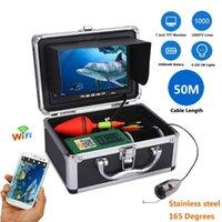 Kameras WiFi Wireless Fish Finder mit 720p 1000tvl Unterwasserfischerei-Videokamera 7 Zoll Farbmonitor Kostenlose Mob-App-Ansicht