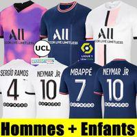 Mbappe psg Soccer Jersey Maillots Football 20 21 22 Verratti Icardi Chemise Maillot de pied Enfants Kimpembe Gana Kean Neymar Marquinhos Hommes + Kit Kit Uniformes