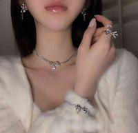 Designer Necklace Luxury Chain Korea Dongdamen Fashion Water Drop Inlaid Diamond Bowknot Bracelet Ring Earring Set Net Red Temperament