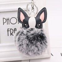 Ffy الأرنب الفراء الكرة الفرنسية البلدغ المفاتيح pompom مفتاح سلسلة بو الجلود الحيوان الكلب كيرينغ حامل حقيبة سحر ترينغ chaveiros