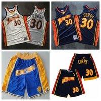 Retrocesso stephen curry 30 jerseys de basquete mitchell ness denso 2009-10 sets retro conjuntos de seda