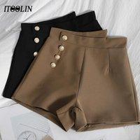 Pantaloncini irregolari a primavera Donne a vita alta Gamba larga Plus Size Breeches Ufficio Lady Slim Pantalones Casual Pantalones Cortos de Mujer Donne