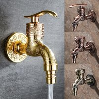 Bathroom Sink Faucets Carved Wall Bottle Bibcock Zinc Alloy Retro Faucet Antique Decorative Outdoor Garden Washing Machine Mop Luxury Basin