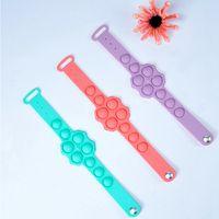 9 Holes Silicone Wristband Pop Fidget Push Bubble Sensory Toy Favor 7 Colors Tie-dye Camouflage Solid Stress Reliever Toys Bracelet LLA715