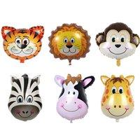 Mescolare la foglia animale Balloon Jungle Safari doppio lato cartone animato palloncini per bambini zoo tema festa di compleanno decorazione della festa 164 B3