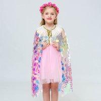 Baby Girls Princess Cloak Sequins Tassels Colorful Mermaid Cape Halloween Party Cape Cosplay Costume Props Kids Cloak 07