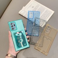 Card Pocket Transparent Phone Cases For Samsung Galaxy S20 S21 Ultra FE S10 Plus A32 A72 A52 Note20 Four-corner Anti-drop Shockproof TPU Protective Sleeve Back Cover