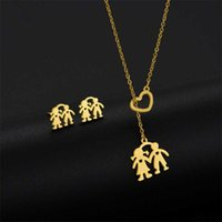 Earrings & Necklace Fashion Stainless Steel Boy Girl Kids Pendant Earings Women Love Heart Family Jewelry Party Gifts
