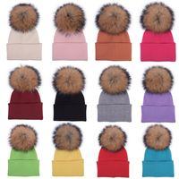 Шерстяная шапка меховой мяч зима шанса POM шарики череп колпачки женщины вязание крючком шляпы лыжи на открытом воздухе уха теплые шляпу головные угловые аксессуары подарок wmqa2