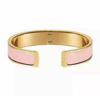 Moda clássico H Abra o corpo duro Bangles incrustado cerâmico rosa casal de ouro criativo pulseira de alta qualidade jóias com caixa de presente de embalagem requintada