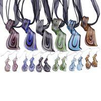 Streamer Glitter Murano Lampwork Geblasene venezianische Glas Halsketten Anhänger und Ohrringe Schmuck Sets Handgemachte Modeschmuck Mus023 OK 20 W2