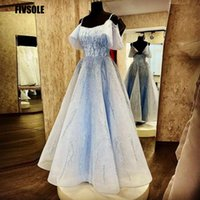 Party Dresses Fivsloe Sparkly Baby Blue Sequin Evening Dress Boat Neck Sleeves Corset Prom Gowns Straps Tulle Elegant Speicial Occasion