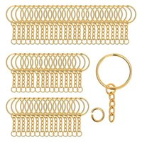 Hooks & Rails 200 Pieces Metal Split Key Rings With Chain And Open Jump Rings, 1Inch Diameter For DIY Crafts