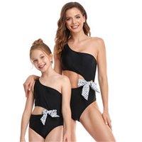 Womens Parent-child Swimwear Fashion Trend Oblique Shoulder Gather Chest One-piece Swimsuits Female Summer Show Waist Sexy Back Beach Bikini
