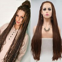 Synthetic Wigs 26'' Brown Color Braided Lace Front Hair Long Box Cornrow Wig African Black Women