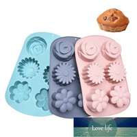 Stampo in silicone per la cottura 6 fori Lollipop Torta al cioccolato al cioccolato muffa muffa rotonda farfalla forma fai da te stampi di pudding sapone forma stampi