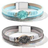 Tennis WYBU Leather Wrap Bracelet For Women Handmade Clasp Bangle With Pearl Beads Crystal Wristband Jewelry Gift Sister