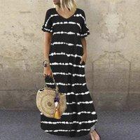 Böhmisches Kleid S-5XL Große Größe Sommer Casual Kurzarm Streifen Gedruckt Kleid Frauen Lose Taschen Maxi langes Kleid Lady Vestidos