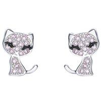 Forma de gato Brilho Brinco 925 Sterling Silver CZ Diamante Mulheres Casamento Jóias Brincos Com Caixa Presente de Verão