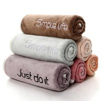 Towel Fashion Embroidered Letter Thickened Microfiber Fabric Bath Hair For Adult Soft Absorbent Household Bathroom Towels