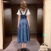 Elbise Yaş Azaltma Denim Elbise 2-piece Set Yaz Kulak Kenar Gömlek Ince Bel ve Moda Kayış Etek