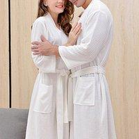Women's Sleepwear Women Men Bath Robe Waffle Shower Nightgowns Male Female Bathrobe Long Woman Man Pajamas M-XXXL