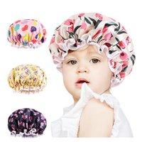 Children Printed Double Layer Turban Cap Stain Silky Big Bonnet for Parent-child Night Sleep Cap Turban Wear Lady Head Wrap Hat