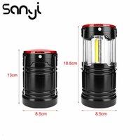 Sanyi portátil camping lanterna alimentado por 18650 bateria pendurado barraca de tenda + 1w LED + lâmpada vermelha flashlamp luz de acampamento