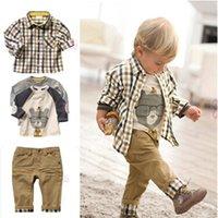디자이너 어린이 의류 3pcs 유아 아기 소년 드레스 코트 + 셔츠 + 데님 바지 세트 아이 옷 복장 2-6 년