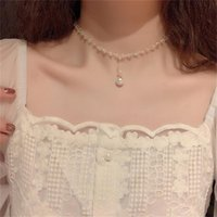 Pendant Necklaces Huge Bud Fashion Necklace Rhinestone Pearl Choker Women Elegent Collares For Girl Trendy Jewelry Short Chain Gift