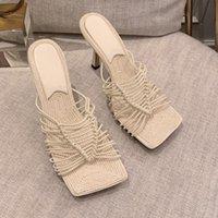 Luxury Brand Women Slippers High Heels Stiletto Cross Weave Open Toes Shoes Woman Thin Heel Fashion Summer Outdoor Ladies Slides