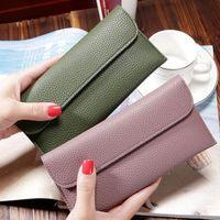 Wallets Slim Holder Wallet Women Solid Color Fashion Simple Leather Clutch Bag Monederos Para Mujer Monedas