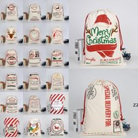 Bolsos Regalos de Navidad Monogramables Sacos de cordón DHL Santa Navidad con lienzo Lienzo grande Santa Claus Bolsa Bolsa Renuajes HWF7390