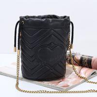 حقائب الكتف دلو المرأة الرباط محفظة جلد طبيعي محفظة براون إلكتروني زهرة حقائب سيدة حمل ثلاثة البند