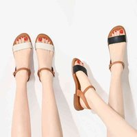 Sandals Summer Women's Ladies flat sandals Mixed Color Casual Shoes women genuine leather shoes summer JYID