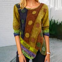 Vintage Women's Stitching Printing Multicolor Tops Ladies Long-Sleeved Casual T-Shirt Female Aesthetic Top Clothes